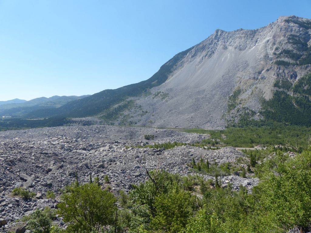 This is the mountain that gave way in 1903. The debris pile traveled two miles across the valley.