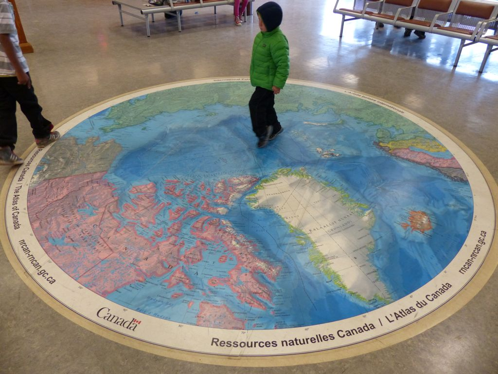 This polar map in the airport brought a unique perspective - From here, we could fly all the way to Russia and not see much of anything but wilderness.