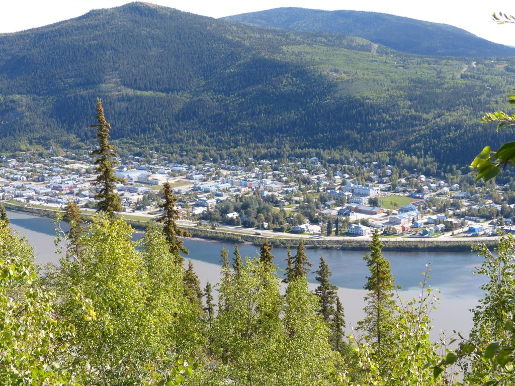 Dawson City and the confluence of the Yukon and Klondike rivers
