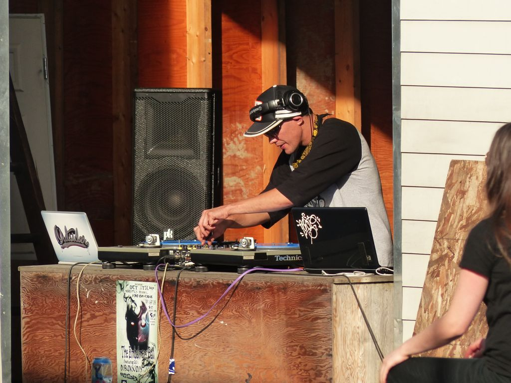 The DJ keeps the beat thumping