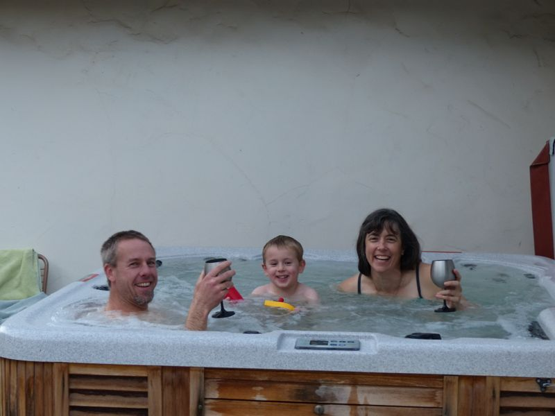 The hot tub was a big hit with everyone.