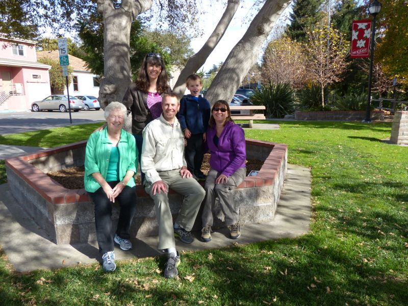 Ruth and Michelle with the Sparks family in downtown Arroyo Grande