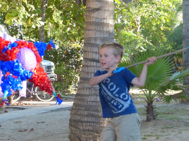 Quinn shared the piñata he made in school with the kids in the campground.