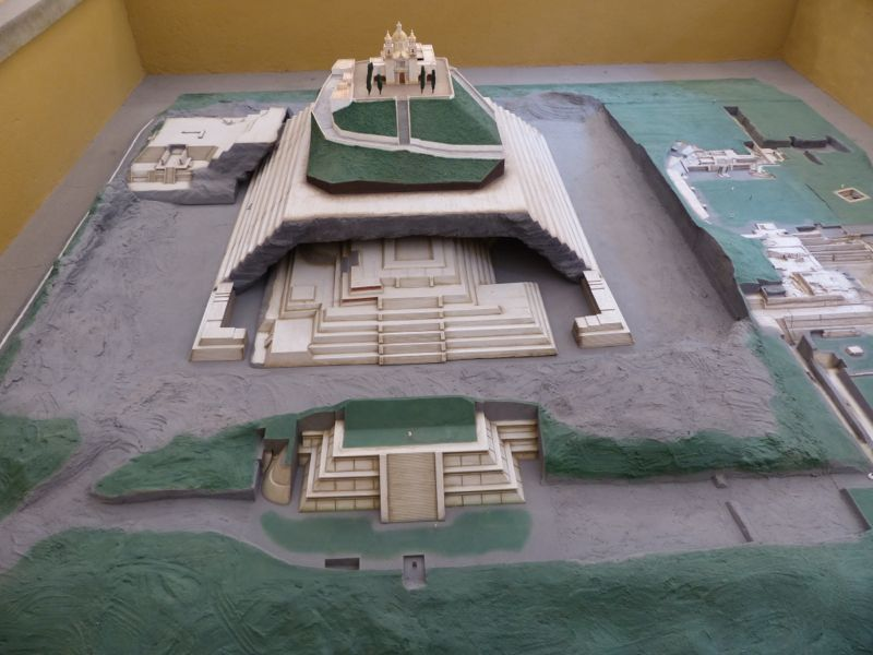 A model of the temple in Cholula with the Church on top