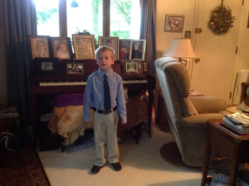 Quinn all dressed up for the funeral (thanks to Aunt Heather for the spiffy clothes)