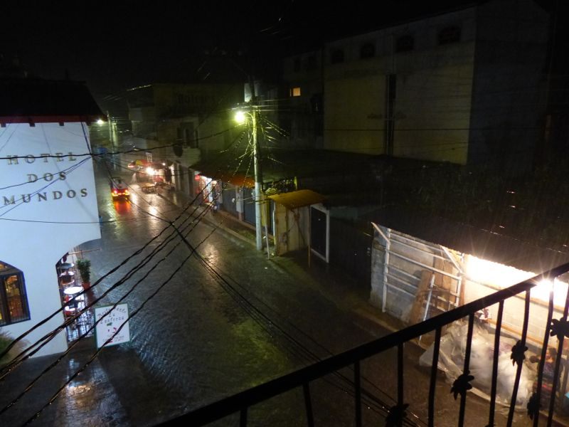 We had a huge rainstorm one night, and the street we live on turned into a river.