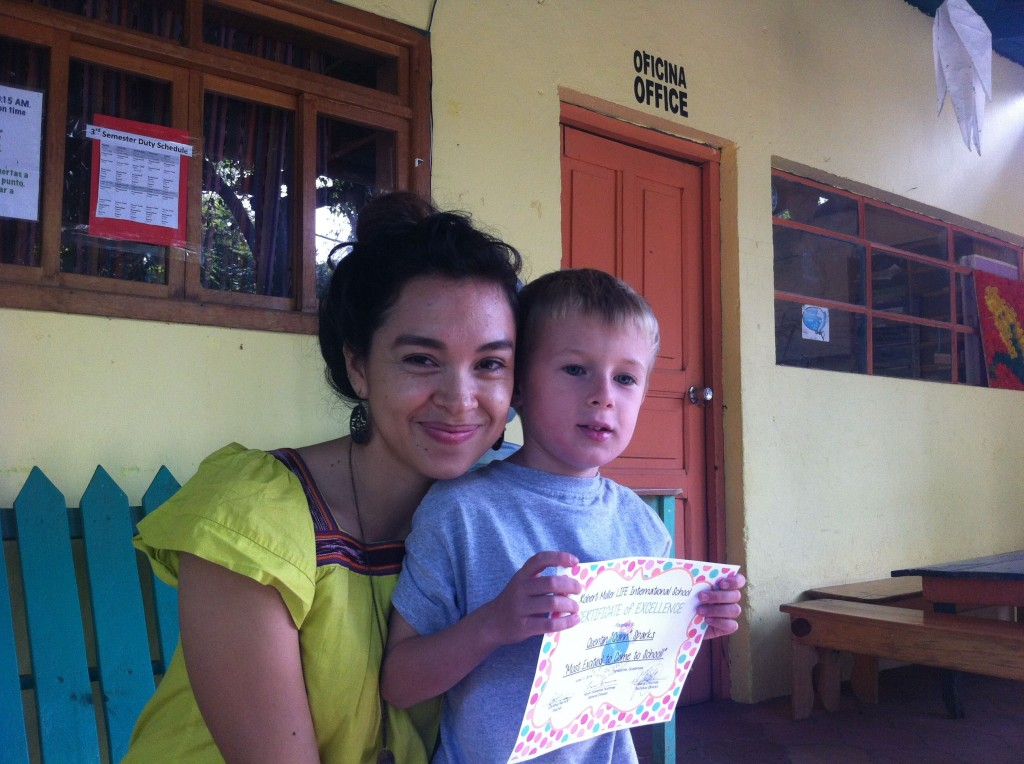 """Quinn with Miss Cindy and his award for """"Most Excited to Come to School"""""""