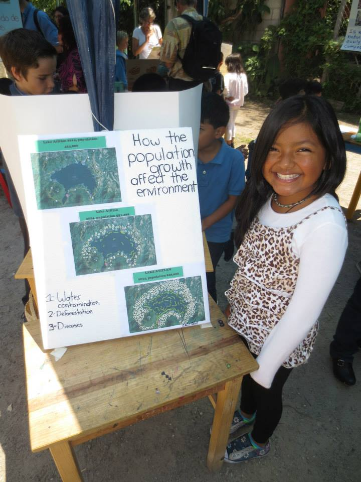 """""""How population growth will affect the environment"""" -- This girl used a computer program to draw the approximate number of additional houses projected in the Lake Atitlán area over the next 10 and 20 years (based upon data gathered on the internet)."""