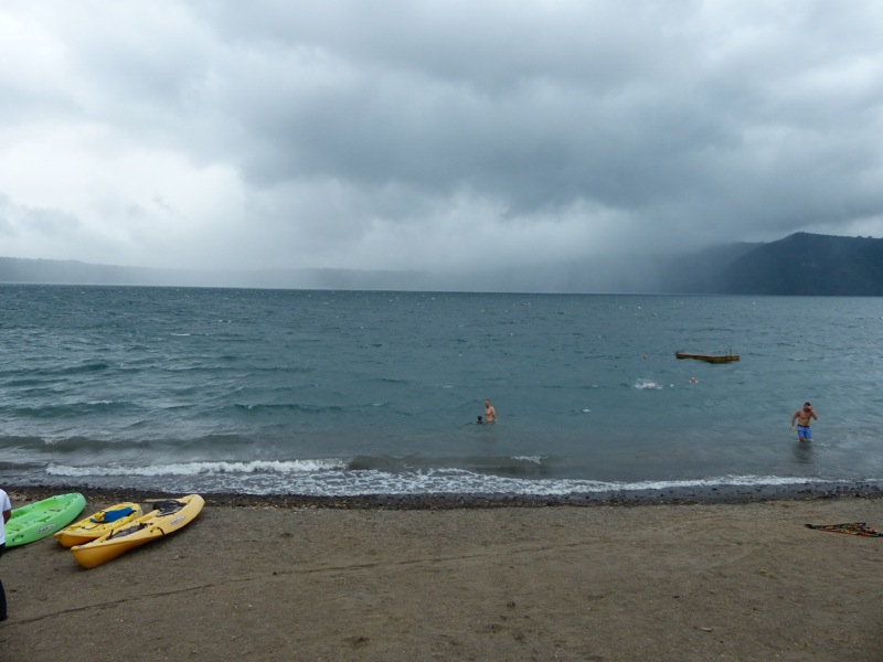 A rain storm interrupted our swimming one afternoon.