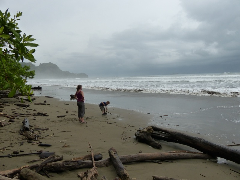 Playing on the beach in Costa Rica