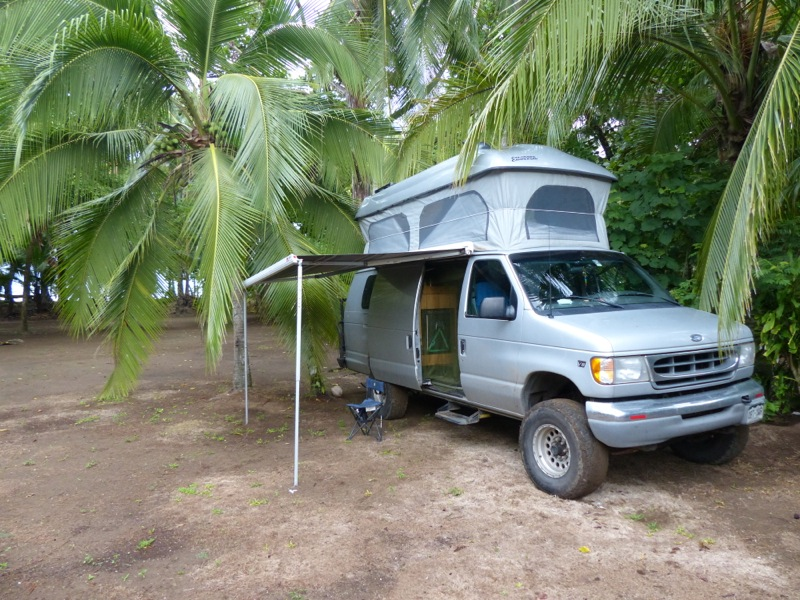 Our campsite amongst the palms