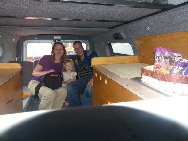 It was raining too hard for a picnic outside, so all six of us crowded into the van for lunch on the way to Monte Verde.