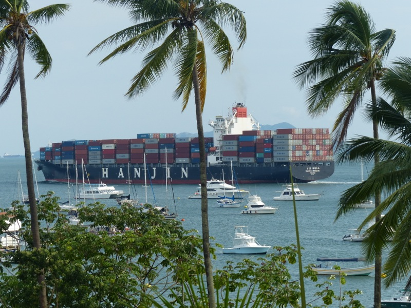 We see giant cargo ships passing behind our hotel every day.