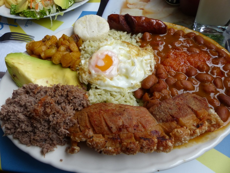This giant gut bomb is called a Bandeja Paisa. Guaranteed to fill you up, and it was actually pretty tasty.