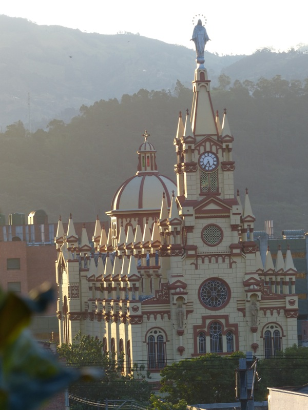A cathedral visible from the roof of our hotel in Medellin