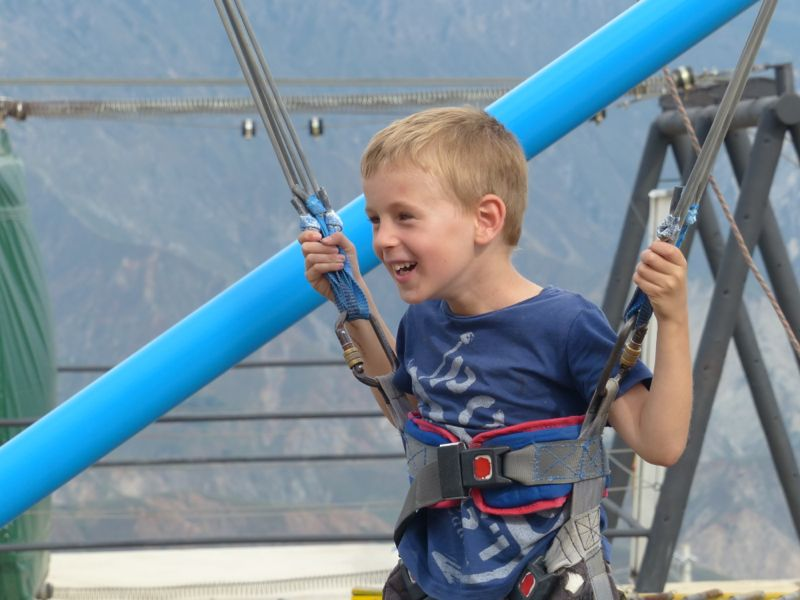 """Quinn had a great time with the bungee trampoline and other """"rides."""""""
