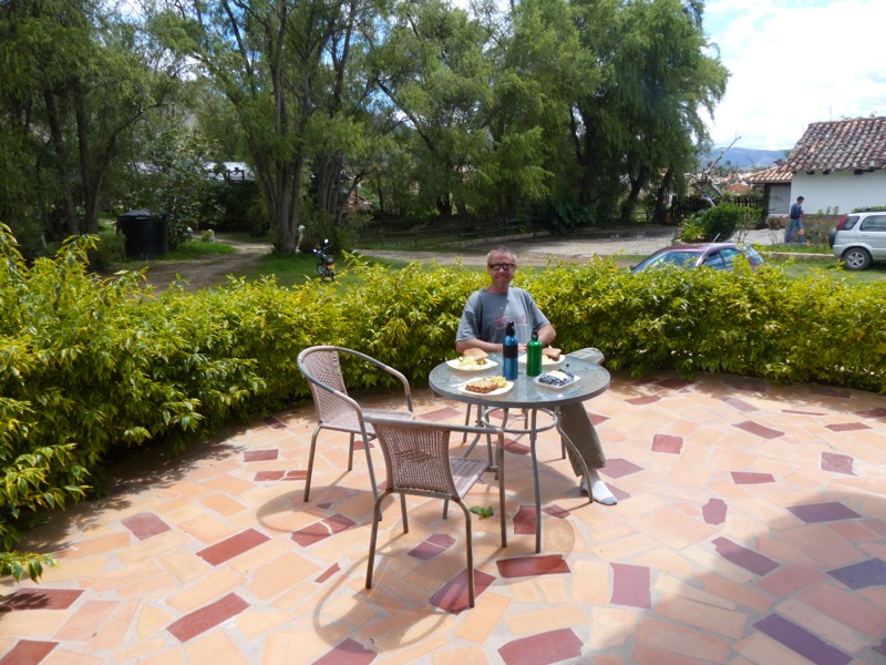 Witt waits for the rest of us for lunch on our patio