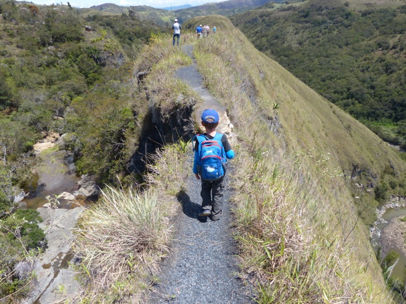 """This is the """"Paso de Angel,"""" a very narrow trail along a ridge line."""