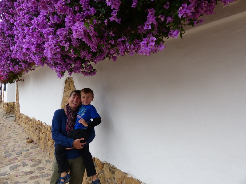 Jen and Quinn make a cute couple under the bougainvillaeas in town.