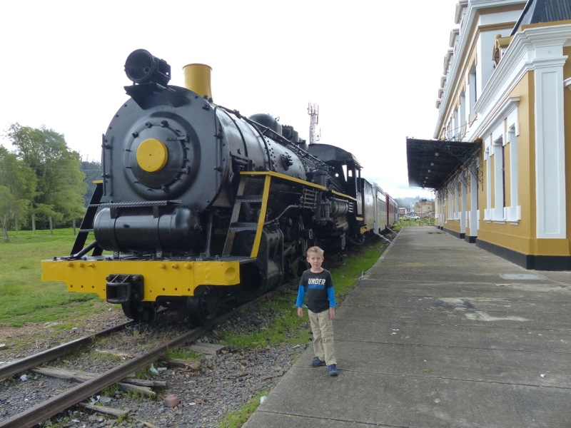 We spotted this beautifully restored steam locomotive behind an equally impressive old train station while driving through an otherwise drab town. Of course we had to stop for a look!