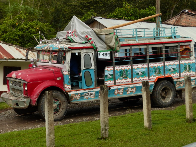 The buses in this part of Colombia appear to be hand-made from truck chassis.