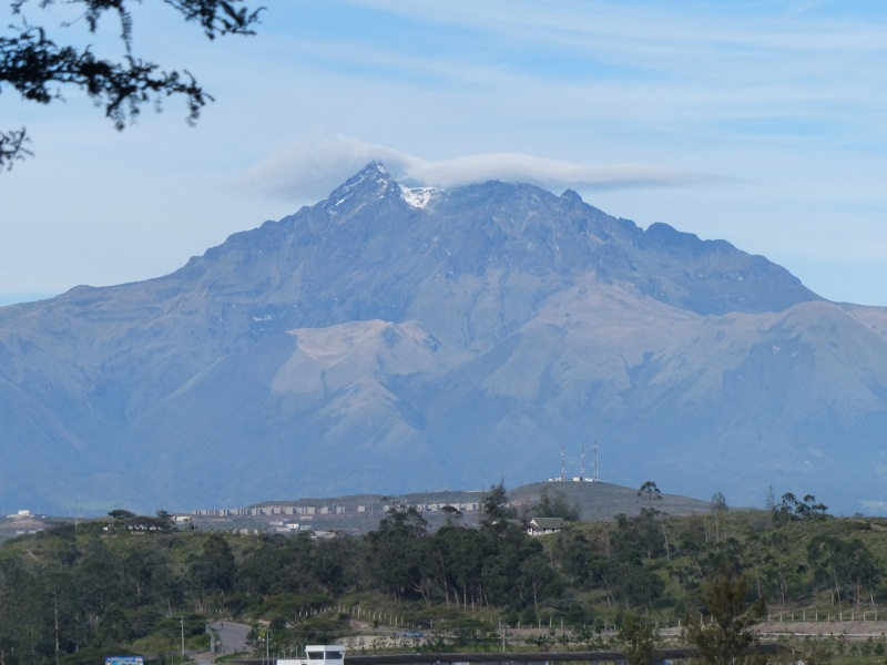 On a clear day we can see snow on a nearby peak - which also happens to be the highest point in the world that the equator passes through.