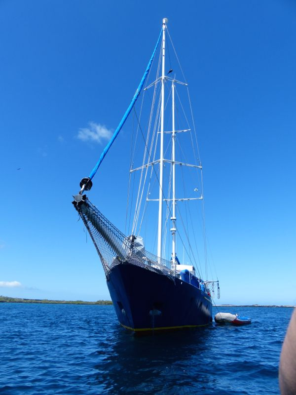 The Beagle is a twin-masted sailing ship. There were 13 guests, 4 crew, and a naturalist guide.