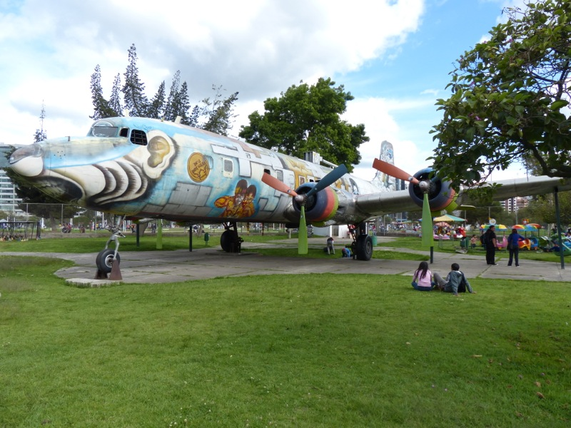 In Quito camped in a parking lot at Parque Carolina, a huge park that featured this airplane in the kids play area.