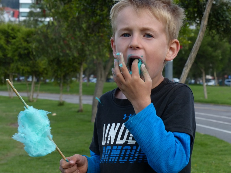 There was a festival while we were there and we got to same some exotic Ecuadorean cotton candy.