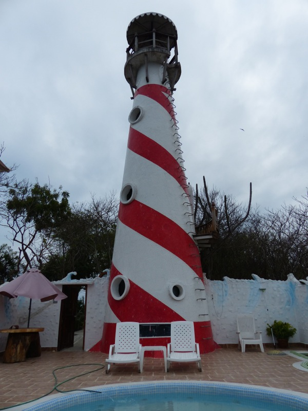 The place was funky, with a lighthouse serving as the bathroom and shower.