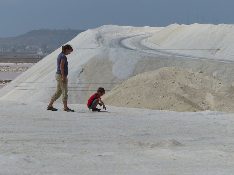 We also stopped at a salt factory where they were drying seawater in giant reservoirs to extract the salt. They let us climb up one of the salt piles, a first for all of us!