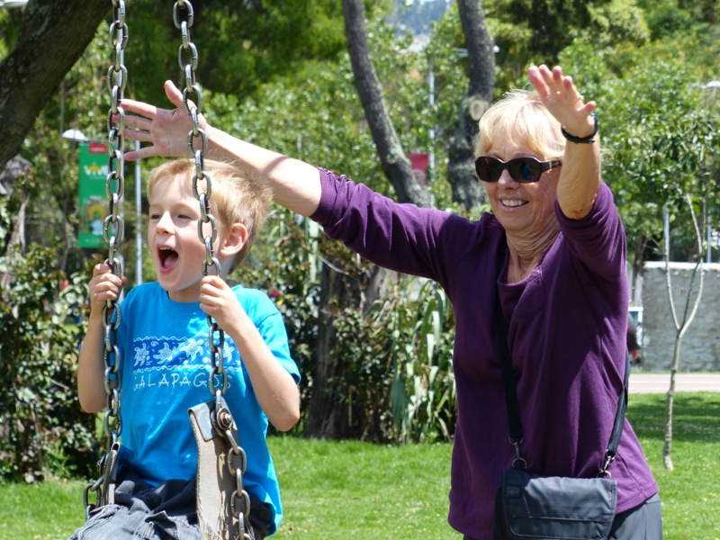 Quinn had great fun on a zip line in a local park.