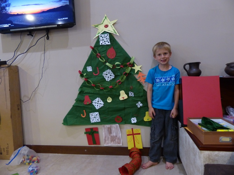 Quinn made us a Christmas tree with help from Grammy and Papa.