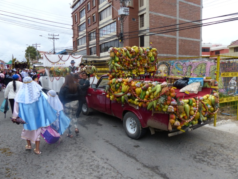 Floats were elaborately decorated with whatever was on hand - fruits and veggies were popular, and some even used bags of chips.