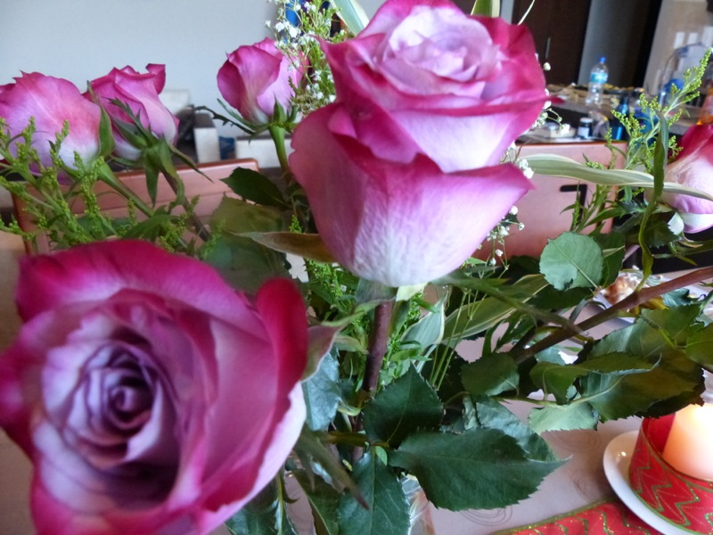 It turns out that most of the roses imported into the US are from Ecuador. This is because they grow with straight stems near the equator. We bought some for our Christmas centerpiece. These cost all of $3.