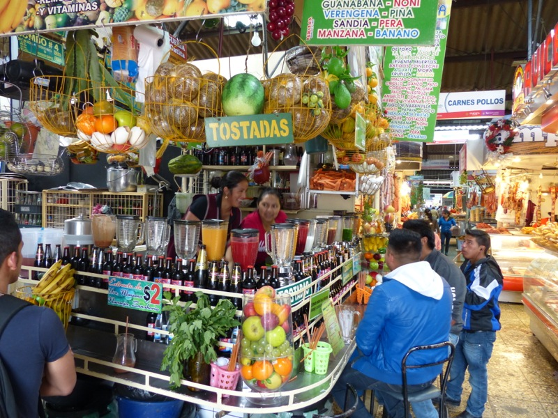 We found a huge local market that we spent the better part of an hour wandering around in. The juice stands with their rows of blenders at the ready were more appealing to us than the unrefrigerated meat hanging from hooks.