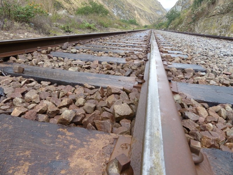 This short section of the rail line had to climb a large, steep mountain. Switchbacks are used - the train moves forward on one section of track, then the crew throws a switch and it reverses up the next stretch.