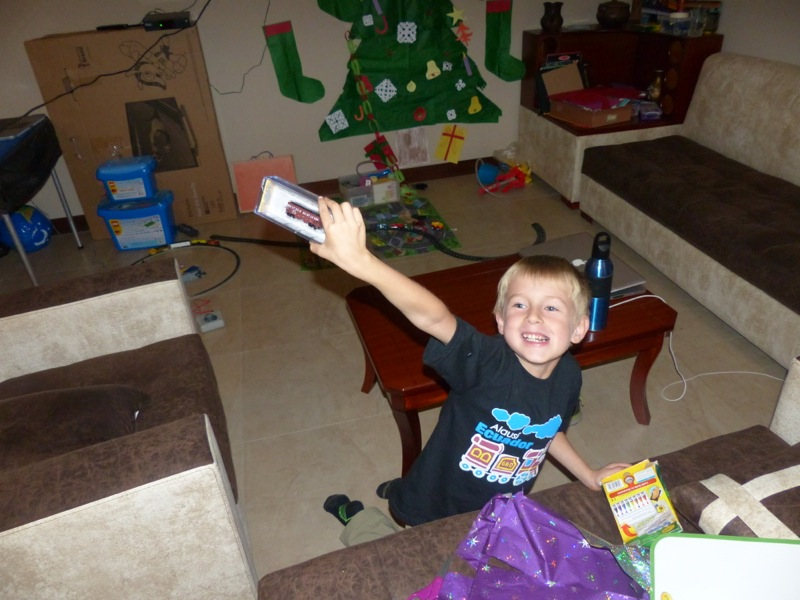 Quinn was super excited to get a new car for his tiny N-gauge electric train.
