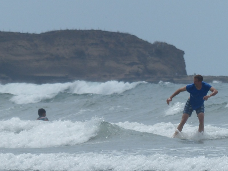 Witt took a surf lesson, trying to build on the little he learned way back in Sayulita almost a year ago.