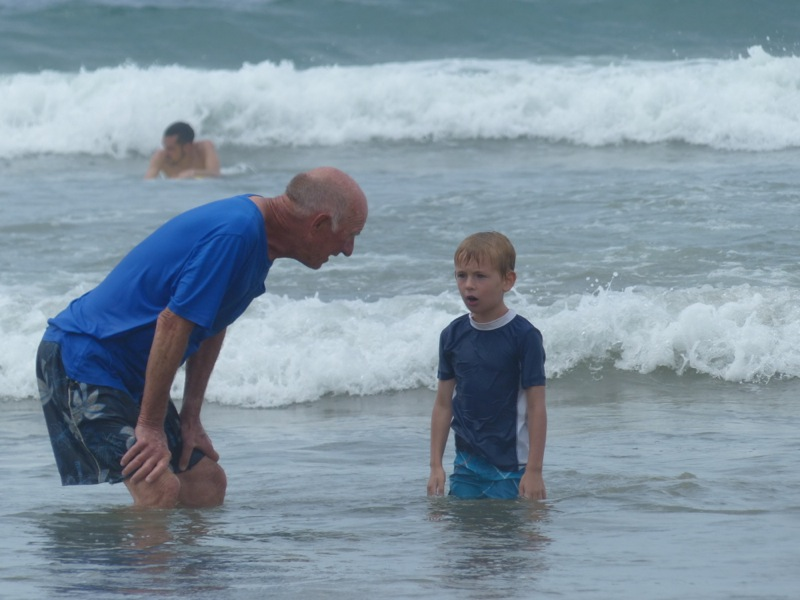 Quinn and Papa played in the sand and surf.