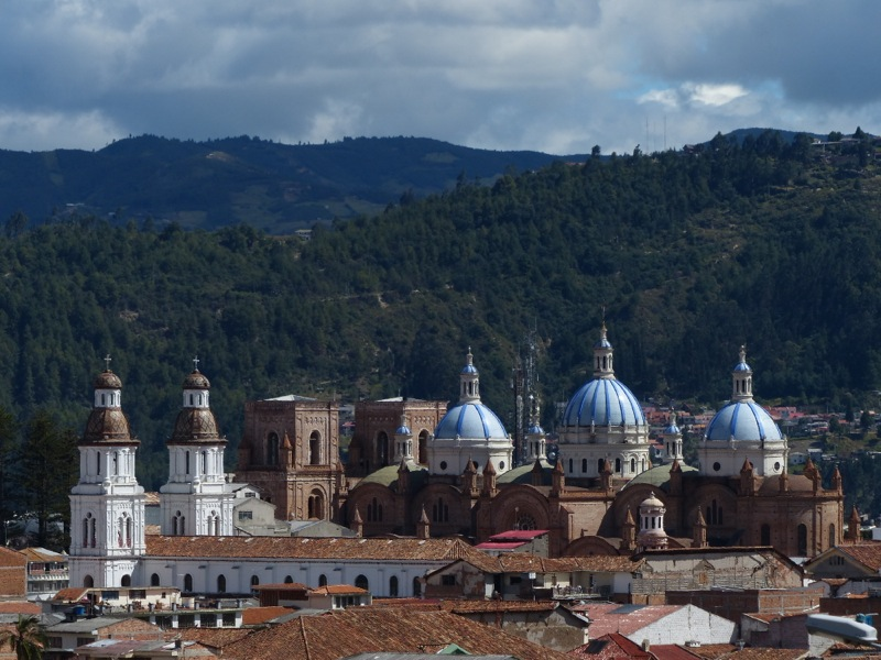 Looking out onto Cuenca's new cathedral (the one with the blue domes) from a hillside above town.