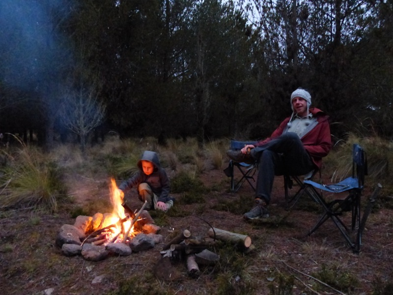 That night we found a great bushcamp in a pine forest with no one around. We built a fire and roasted marshmallows for the first time in months!
