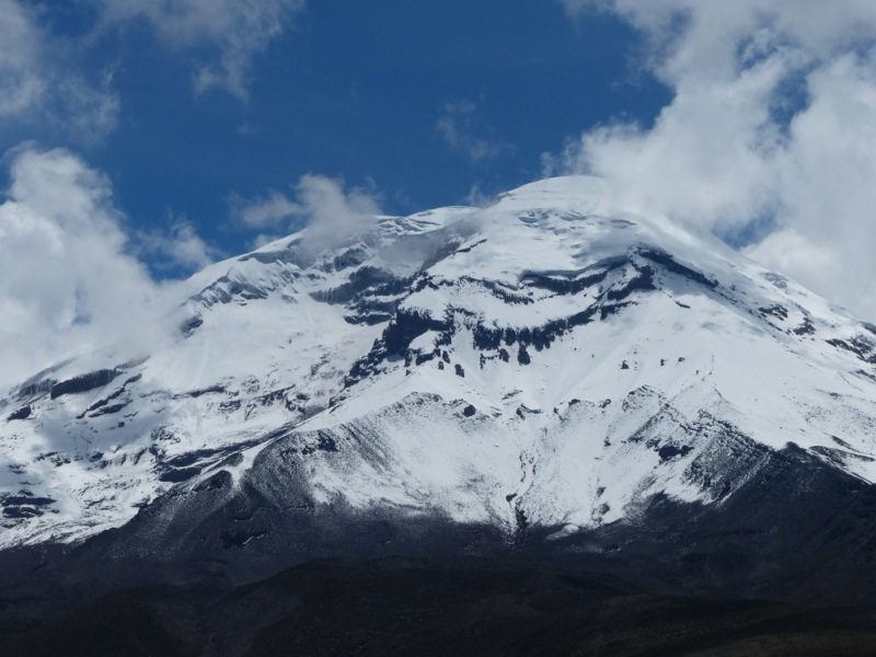 Here is a view of the Chimborazo Summit.  Interesting fact:  this summit is actually further from the center of the earth than the top of Everest due to the equatorial bulge of the Earth!