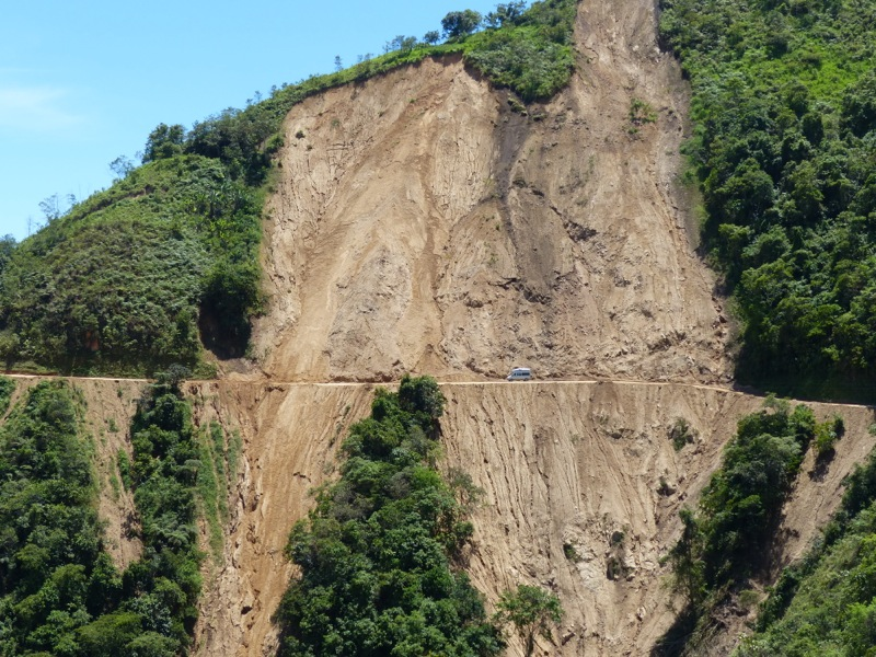 This was the biggest of several landslides we saw. Mostly if they didn't completely block the road they were left where they were.  If you look closely, you can see Westy right as she makes the crossing.