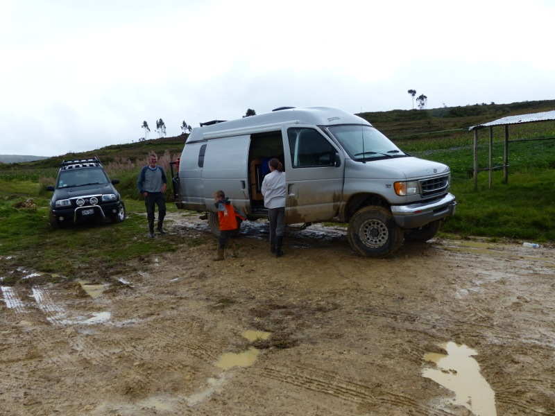 The mud parking lot at the caves.