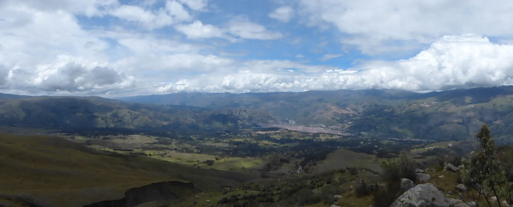 This is the city of Huaraz seen from the mountains East of town.