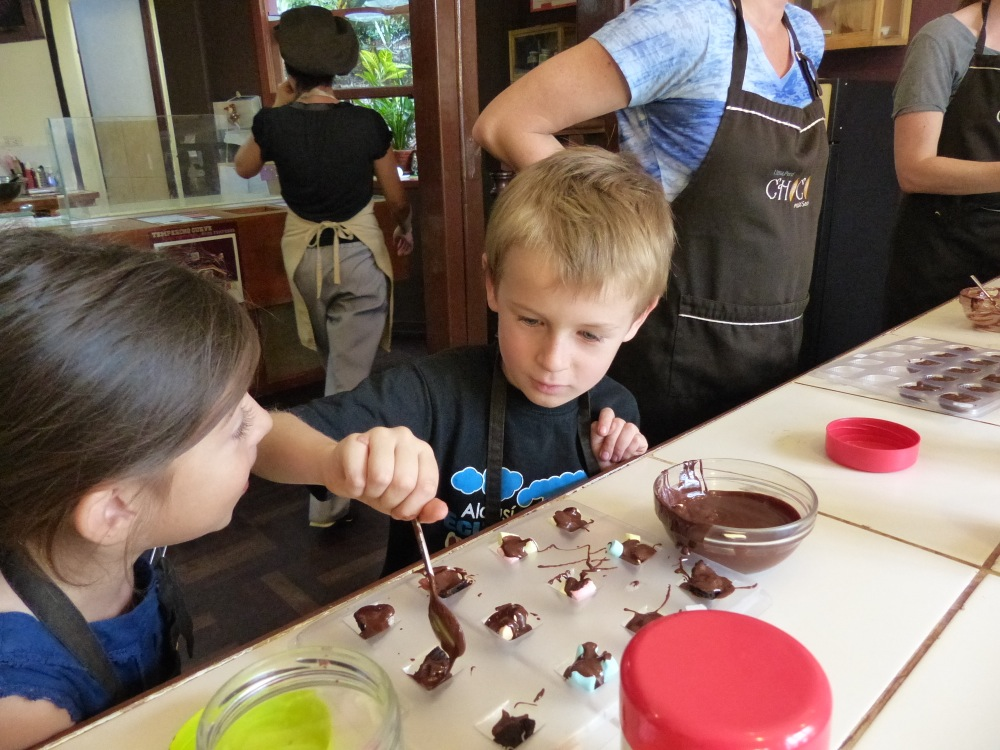 Augustina is six too and the kids had a great time making chocolate.