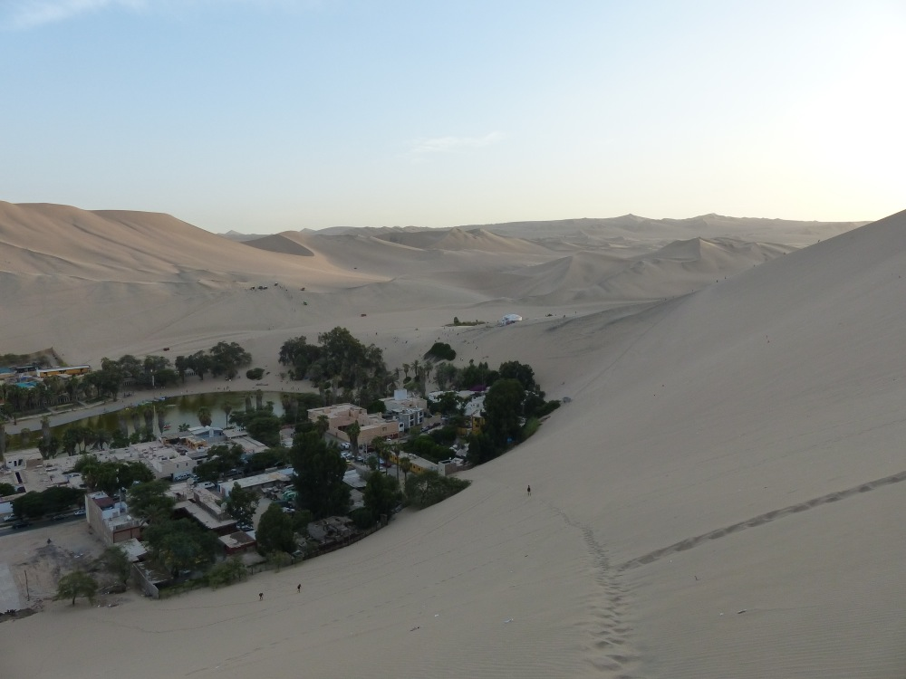 After we returned to our hotel, I climbed a sand dune to watch the sunset. It was nice, but the dunes were crawling with sand buggies, which was a sharp contrast to the quiet evening we had enjoyed the night before.