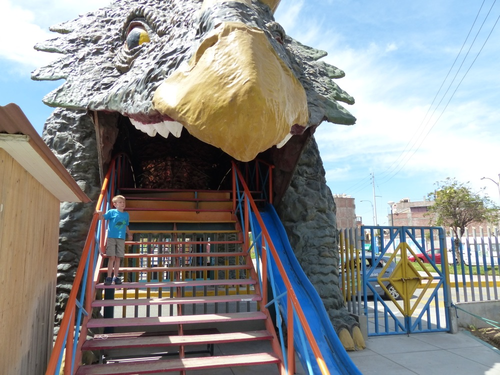 We found a dinosaur themed park in town. Quinn was scared to go through the giant triceratops tunnel.