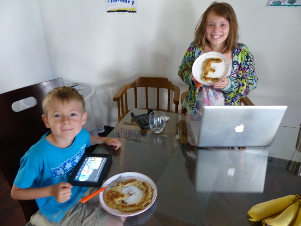 Emilia visited us for a sleepover. Lots of fun was had playing Minecraft, and Jen made Q and E pancakes for breakfast.